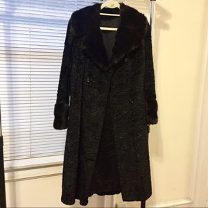 Black Vintage Faux Fur Coat